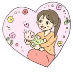 お母さんが赤ちゃんを抱っこ